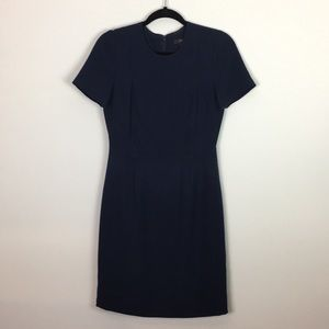 J Crew Sz 4 navy blue dress crepe pencil shape